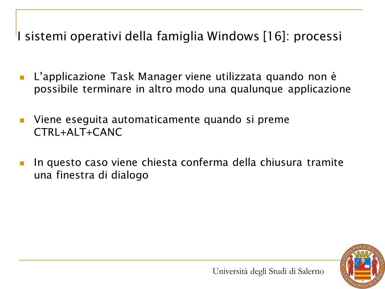 I sistemi operativi della famiglia Windows [16]: processi